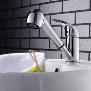 Chrome Pull Out Shower Tap Swivel Spout Kitchen Mixer Taps Basin Sink Faucet AU