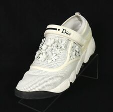 DIOR $1,140 White Perforated Leather 3D Flower Applique FUSION Sneakers 39