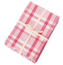 Dexam Peony Pink Set of 3 Jumbo Check Stripe Tea Towels Cotton Kitchen Cloth Dry