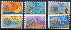 BRITISH VIRGIN ISLANDS STAMPS 1973 1st ISSUE OF COINAGE SG 289/94 MOUNTED MINT