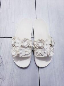NEW TORY BURCH Blossom Floral Flower Slide Slip On Sandal  White Size 7 $198