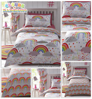 CLOUDS AND RAINBOWS Colourful Happy Reversible Duvet Cover Set Bedding Range
