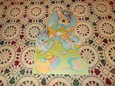 """Vtg Easter Bunny Diecut Cardboard Decoration Large 16"""" X 10"""" Chicks Basket Eggs"""