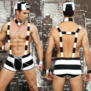Sexy Mens prisoner outfit, clubwear Prison outfit, Fancy dress Size M