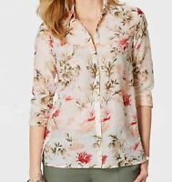 J JILL  2X Cotton Silk  Shirt Whisper Feather Weight Beautiful Flowers  $99  NWT