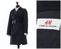 Women's H&M x COMME DES GARCONS Trench Coat Jacket Black Size US 6 UK 10