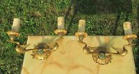 Pair of antique French Regency Two-Arm Wall Sconces Ducks Brass Stunning