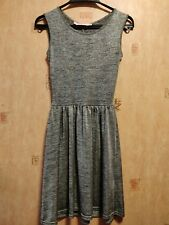Topshop Oh My Love Silver Grey Glitter Dress Sparkling Back Slit Size XSmall 6