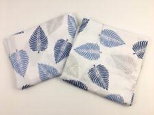 Modernist Blue Feather Print King Pillowcases Cotton Blend NWOT Boho