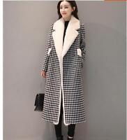 Women Winter Wool Mink Fur Warm Coat Thick Lapel Collar Long Trench Parka Jacket