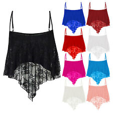 New Ladies Womens Sexy Floral Lace Swing Camisole Spaghetti Strap Cropped Top