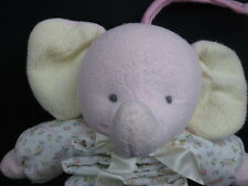 PRESTIGE PINK CREAM ELEPHANT LULLABY MUSICAL PULL DOWN NURSERY PLUSH STUFFED