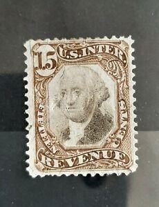 1871-72 15c U.S Revenue Third Issue Stamp  #R139 Fair Used Hinged