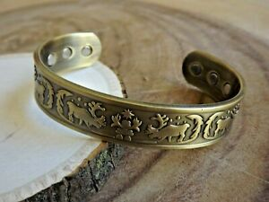 Army Green Copper Magnetic Bracelet Arthritis Pain Therapy Energy Cuff Reindeer