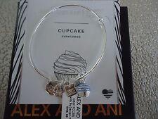 Authentic Alex and Ani CUPCAKE II Shiny Silver Charm Bangle New W/Tag Card & Box