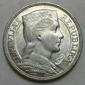 Latvia 5 Lati 1931 XF Silver