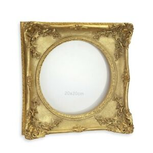 9934042-ds goldfarbener Bilder-Rahmen Historismus-Stil Quadrat rund 30x30m