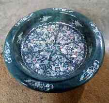 """12"""" Green Marble Fruit Bowl Abalone Seashell Elephant Inlay Kitchen Gifts H2815"""