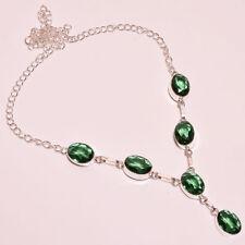 Superbe Collier Artisanal Quartz Diopside Vert Plaqué Argent 925 Str PROMO