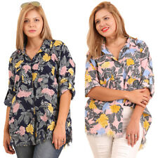 UMGEE Womens Plus Floral Button Long Roll Up Sleeve Shirt Top Blouse XL 1X 2X