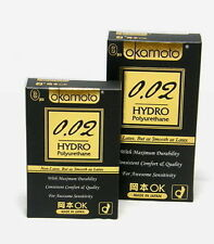 6Pcs OKAMOTO 0.02 HYDRO Polyurethane Ultimate Thinness Lubricated Condom Pack