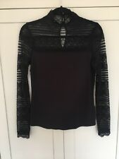 M&S Collection Long Sleeve Lace Black Top 10