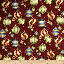 """1 yd +29"""" Christmas in bloom Clothworks_quilt cotton_large ornaments"""