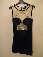 RARE black satin cream lace open back short/mini statement evening dress size 12