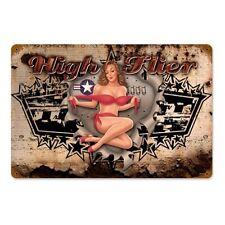 Lethal Threat High flier pin up girl Nose art Army retro sign chapa escudo Escudo