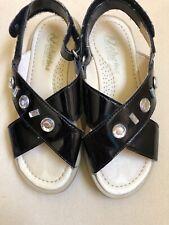 Girls Naturino Black Patent Leather Sandals Size 30