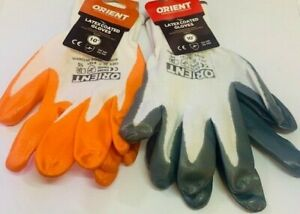 """Orient 10"""" Latex Coated safety Gloves 12 Pair Pack"""
