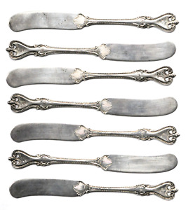 """Set of 7 Old Colonial Towle Sterling Silver Solid Butter Spreaders 5-3/4"""" Mono"""