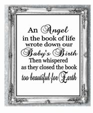 """Adesivo Vinile 8 """"x 8"""" BABY memoria POESIA-Un angelo nel libro della vita-preventivo"""