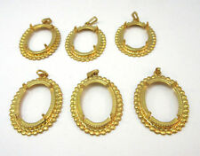 DOTTED EDGED GOLD FILLED OPEN CASTING PENDANT LOT OF 6 ***