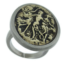 Ladies Art Design Anique Style Tutone Plated Ring Size 8