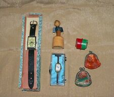 Small Antique Toys-Watches/Japan-Brocade Coin Purses (Tiny)-Wooden Push Puppet
