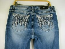 F2236 Women's MISS ME Embroidered Crystal Pocket Skinny Denim Jeans Size 33