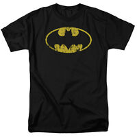 Batman CLASSIC Shield LOGO DISTRESSED Licensed Adult T-Shirt All Sizes
