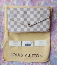 Louis Vuitton LV Pochette Felicie Damier Azur ballerine pink clutch bag
