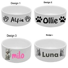 Personalised Ceramic Dog Cat Bowl Pet Puppy Choose from 4 Designs with your Name
