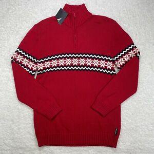 Nautica Sweater Womens 20 Plus Size 1/4 Zip Red Turtle Neck Knit Blue White
