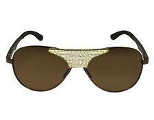 Yellow Gold Finish Lab Diamond Hydrophobic Polarized Eye Wear Brown Sunglasses