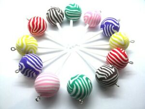 🍭🍭🍭12 GORGEOUS LOLLIPOP CHARMS POLYMER CLAY FIMO 🍭🍭🍭