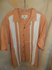 Mens Dress Shirt Button Down Short Sleeve ISLAND SHORES XLT Salmon Ivory Shirt