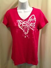 SB ACTIVE Magenta BUTTERFLY Knit Top Shirt Womens SIZE SMALL