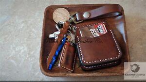 Hand Stitched Leather Card Holder  Mens Wallet Minimalist Handmade  Front Pocket