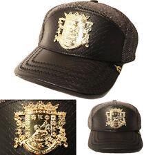 Puerto Rico Snapback Hat Black Snake Skin Leather Gold badge Wool Adjustable Cap