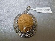 35.00 ctw Karis Picture Jasper Pendant in Platinum Bond Brass