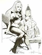 ORIGINAL MIKE HOFFMAN INK OCTAVIA PINUP GIRL FEMALE WOMAN ART PAINTING PIN UP