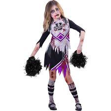 Childs Purple Zombie Cheerleader Fancy Dress Costume Kids Halloween High School